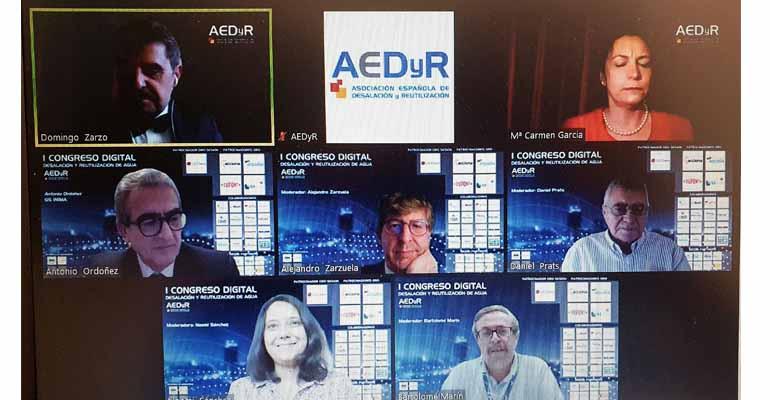 Participantes en la sexta sesión del Congreso Digital AEDyR dedicado a experiencias y lecciones aprendidas en desalación y reutilización