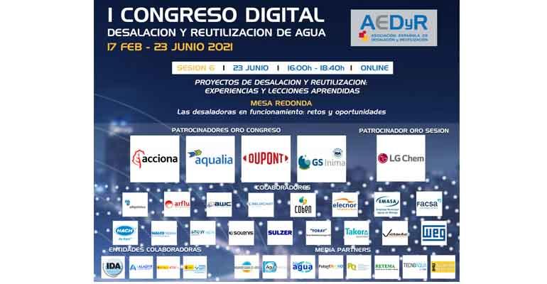 Cartel de la sesión sexta del congreso digital de AEDyR, dedicada a las desaladoras