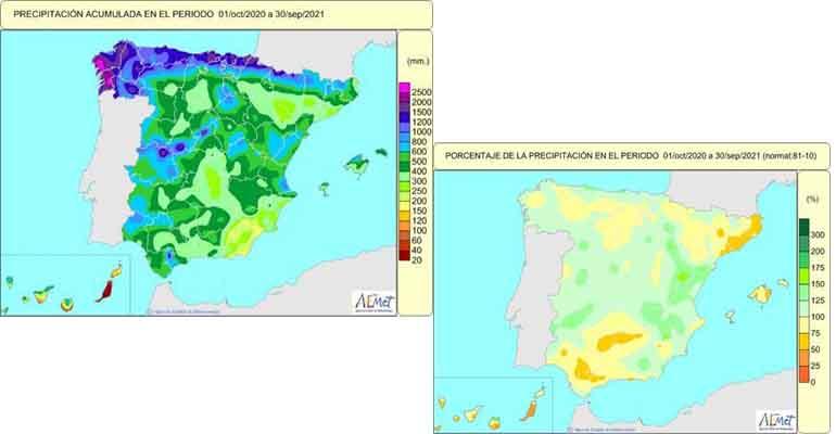 Año hidrológico de carácter normal en términos de lluvia para España según Aemet