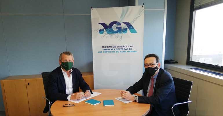 Firma del convencio entre AGA y EISP sobre el servicio público del agua