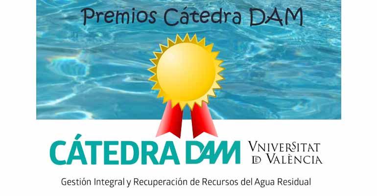 Cartel convocatoria premios de la Cátedra DAM a los mejores trabajos sobre aguas residuales