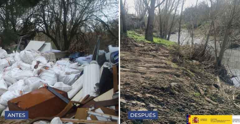 La Confederación Hidrográfica del Tajo finaliza los trabajos de retirada de residuos del río Guadarrama
