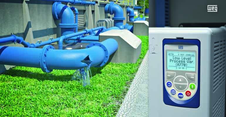 Pump Genius de WEG. Este variador de velocidad para el control automático de la velocidad del motor de una bomba integra un software de control de procesos y monitorización del sistema