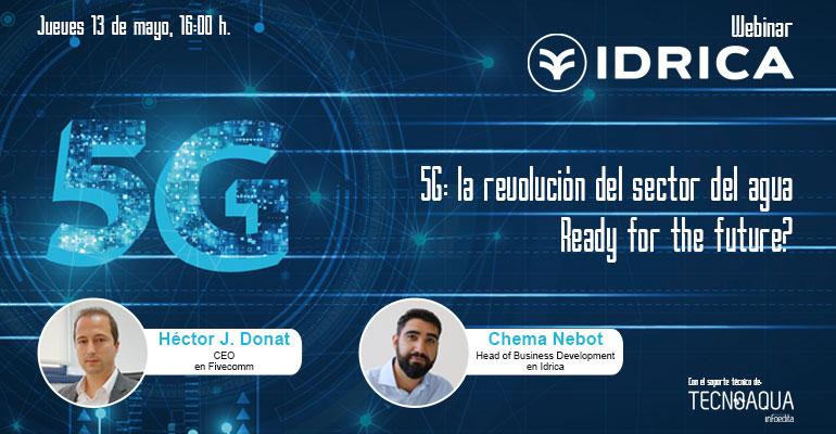 Cartel del webinar de Idrica, Fivecomm y Tecnoaqua sobre el 5G y la gestión del agua