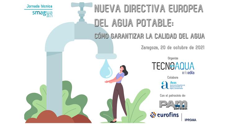 Cartel de la jornada Tecnoaqua sobre la nueva directiva de aguas de consumo humano y aguas potables