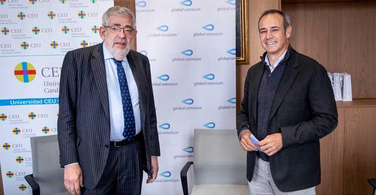 Vicente Navarro de Luján, rector de la Universidad CEU Cardenal Herrera, y Dionisio García Comín, CEO de Global Omnium
