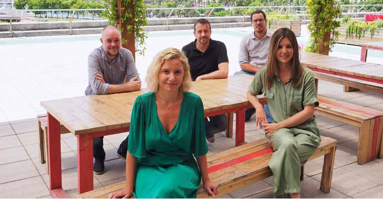 Patricia Pastor, Isabel Giménez (manager GoHub Barcelona), Enric Colomer (IBM), Miquel Martí (Barcelona Tech City) y Jordi Aguasca (Acció)