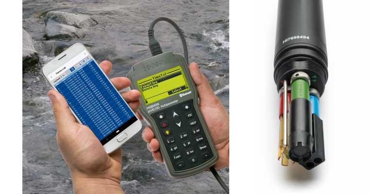 Equipo multiparamétrico portátil y digital HI98494 de Hanna Instruments con telecontrol