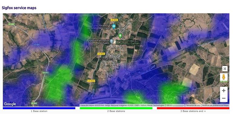 Hidroconta y el proyecto de telelectura en Bembibre. Ejemplo 2 de cobertura Sigfox