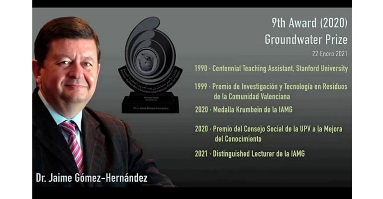 El investigador Jaime Gómez, premiado por sus contribuciones científicas en el campo de las aguas subterráneas