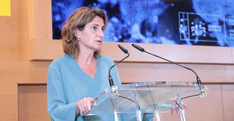 La ministra del Miteco, Teresa Ribera, presentando los Planes Hidrológicos de tercer ciclo