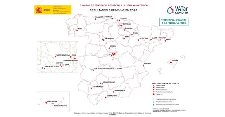 Nuevos resultados de los análisis de aguas residuales para el seguimiento de la COVID-19 en España