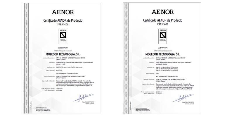 Molecor, primera empresa en conseguir la certificación UNE-EN 17176 para sus tuberías y accesorios de PVC-O