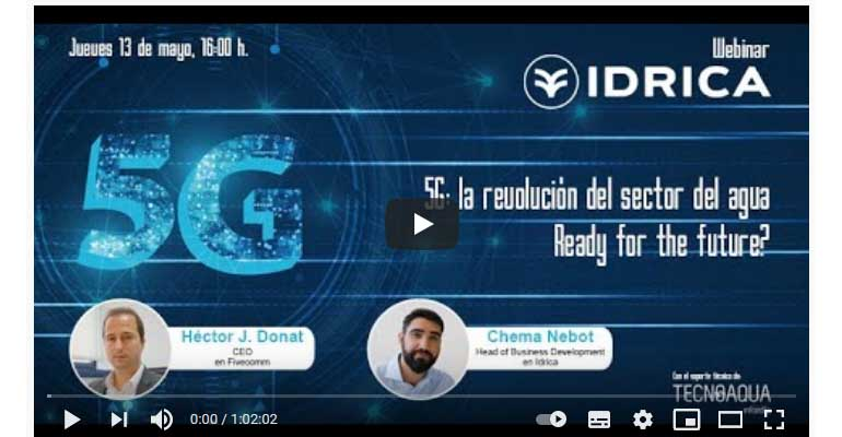 cartel vídeo webinar Idrica sobre 5G y sector del agua
